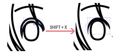 Convertendo entre linha e preenchimento no Illustrator (SHIFT+X)