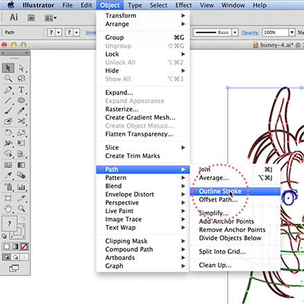 Convertendo linhas em preenchimento no Illustrator