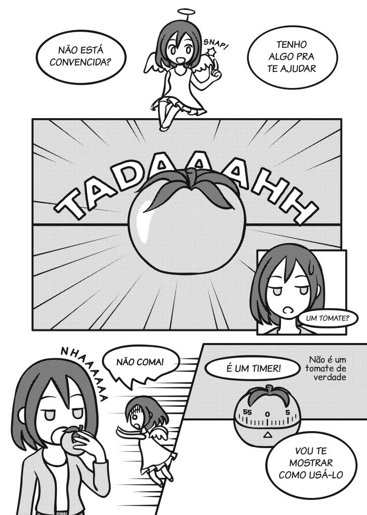 Página 6: Anjo: Não está convencida? Tenho algo pra te ajudar. Anjo mostra tomate. Sofia: Um tomate? Sofia pega o tomate e o leva à boca. Anjo: Não coma! É um timer! (Não é um tomate de verdade). Vou te mostrar como usá-lo.