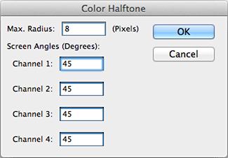Caixa de diálogo do filtro color halftone no Photoshop